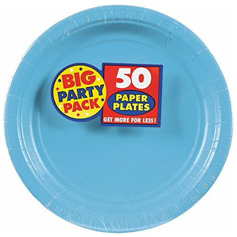 Amscan Big Party Pack Caribbean Blue Paper Dessert Plates