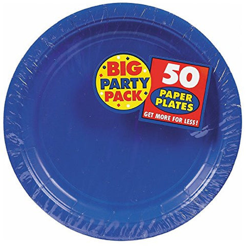 Amscan Big Party Pack Bright Royal Blue Paper Dinner Plates