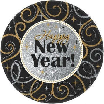 Sparkling New Year Round Prismatic Dinner Plates