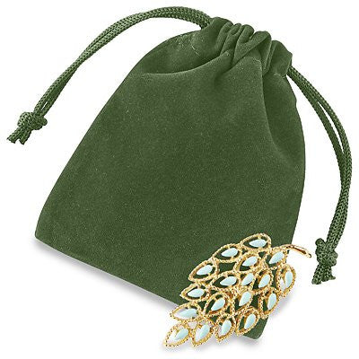 "3 x 4"" Green Velvet Pouches Velvet Velour Drawstring Jewelry Bags Pouches- 25 count"
