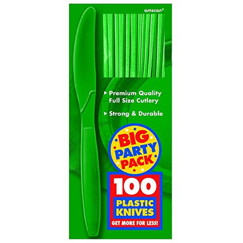 Amscan Big Party Pack Festive Green Plastic Knives