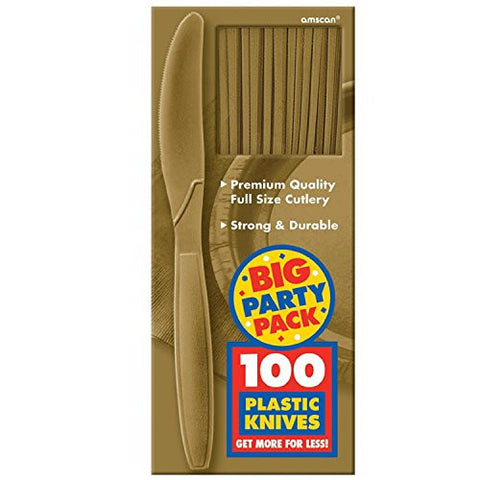 Amscan Big Party Pack Gold Plastic Knives