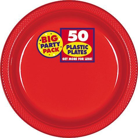Amscan Big Party Pack Red Plastic Lunch Plates