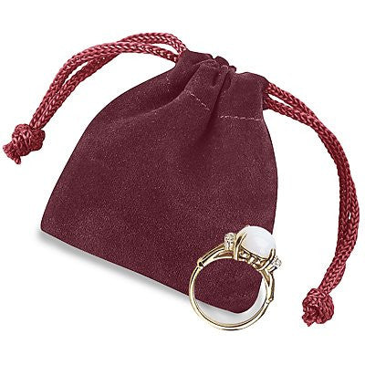 "2 x 2 1?2"" Burgundy Velvet Pouches Velvet Velour Drawstring Jewelry Bags Pouches - 25 count"