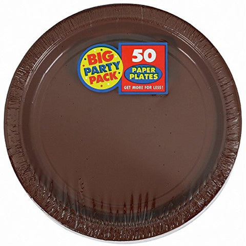 Amscan Big Party Pack Chocolate Brown Paper Dinner Plates