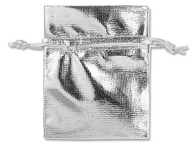 100 Silver Metallic Pouches Gift Bags w/ Drawstring Jewelry Favor 3 x 4""