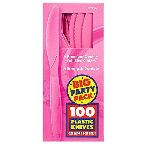 Amscan Big Party Pack Bright Pink Plastic Knives