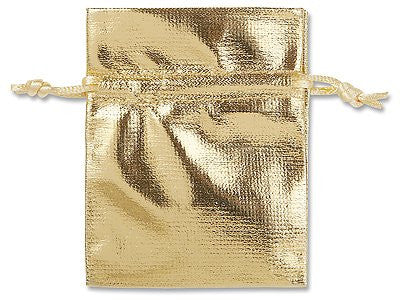 100 Gold Metallic Pouches Gift Bags w/ Drawstring Jewelry Favor 3 x 4""