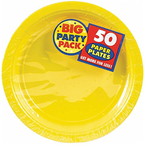 Amscan Big Party Pack Sunshine Yellow Paper Dinner Plates