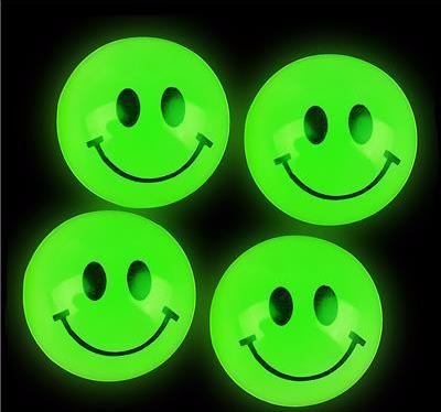 27MM GLOW IN DARK SMILEY FACE BALL- 24 count