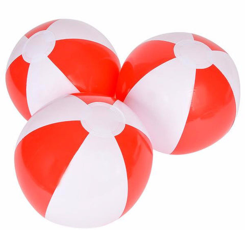 "12"" RED AND WHITE BEACH BALL - 12 COUNT"