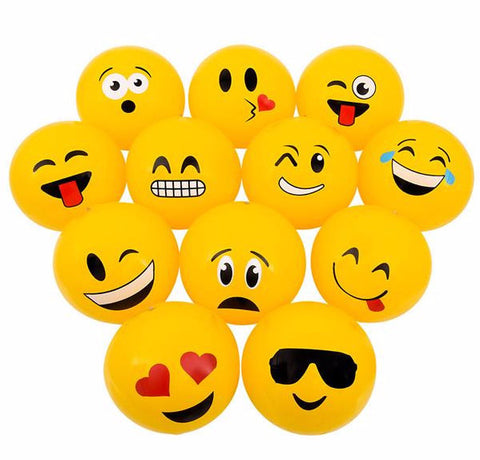 "12"" EMOTICON BEACH BALL INFLATE - 12 COUNT"