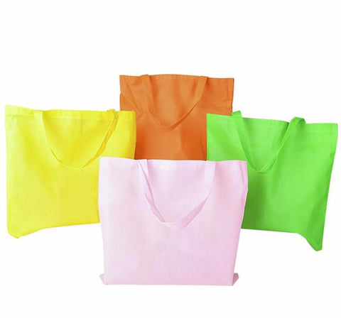 "15""x16.5"" NEON FABRIC TOTE BAGS - 4 PIECES"
