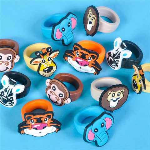 "1"" RUBBER ZOO ANIMAL RINGS - 12 COUNT"