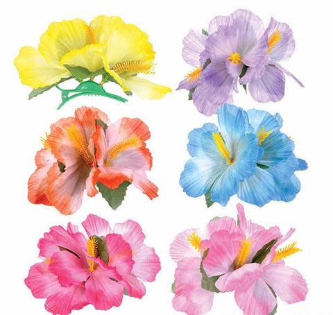 "5.5"" HIBISCUS FLOWER HAIR CLIPS - 12 COUNT"