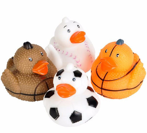 "2"" Sports Ball Rubber Ducks - 12 count"
