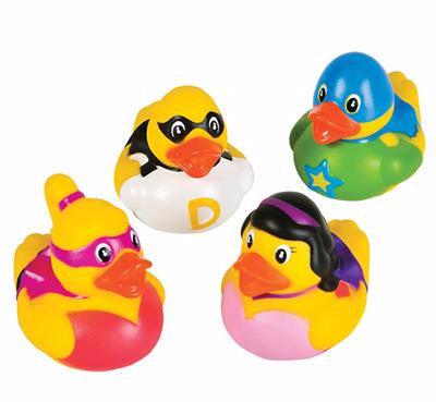 "2"" Super Hero Rubber Ducks - 12 count"