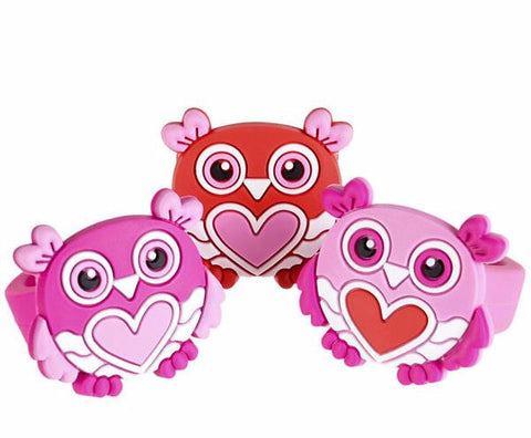 "1"" RUBBER VALENTINE'S OWL RINGS - 24 PIECES"