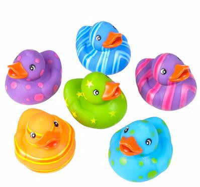 "2"" Multicolored Pattern Rubber Ducks - 12 count"