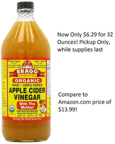 "Bragg Usda Organic Raw Apple Cider Vinegar, 32 Fluid Ounce - ""With the Mother"" - Pickup only"