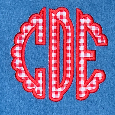 Gingham Scallop Circle Monogram