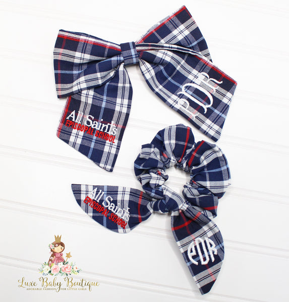 Fabric Monogram School Bow