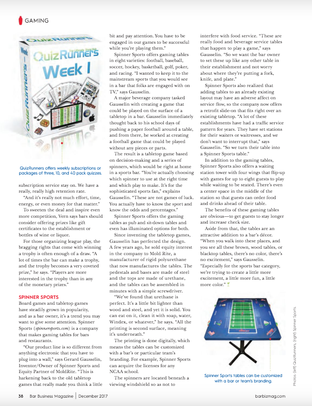 Quizrunners - Bar Business Magazine Page 2