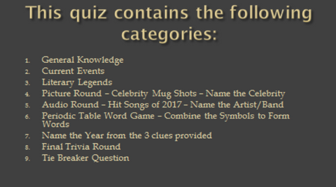 Quiz Night Categories