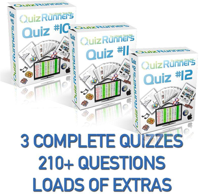 3 Complete Trivia Night Quizzes - Quiz 10, 11 and 12