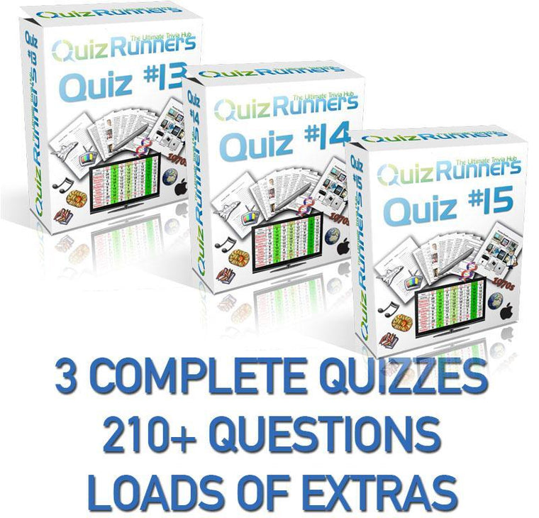 3 Complete Trivia Night Quizzes - Quiz 13, 14 and 15