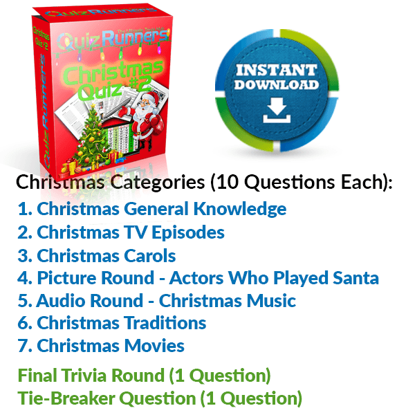General Knowledge, Christmas TV Episodes, Christmas Carols, Actors Who Played Santa, Christmas Music, Christmas Traditions and Christmas Movies Trivia Night Questions