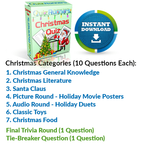 General Knowledge, Christmas Literature, Santa Claus, Holiday Movie posters, Holiday Duets, Classic Toys and Christmas Food Trivia Night Questions
