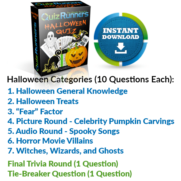 "General Knowledge, Halloween Treats, ""Fear"" Factor, Celebrity Pumpkin Carving, Spooky Songs, Horror Movie Villains, and Witches, Wizards and Ghosts"