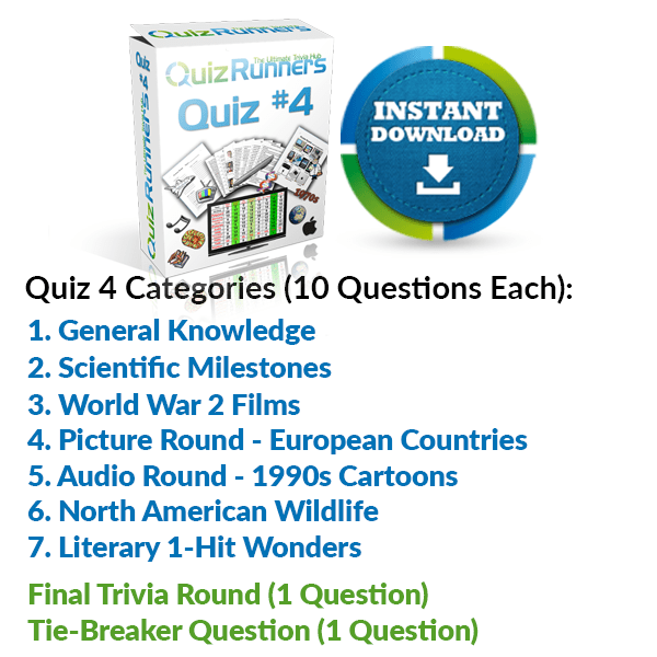 General Knowledge, Scientific Milestones, World War 2 Films, European Countries, 1990s cartoons, North American Wildlife and Literary 1-hit Wonders Trivia Night Questions