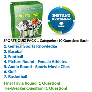 General Sports Knowledge, Baseball, Football, Female Athletes, Spots Movie Clips, Golf and Basketball Trivia Night Questions