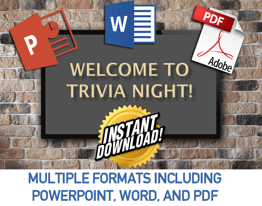 Trivia Night Questions in PDF, DOC and WORD Formats, Instant Download