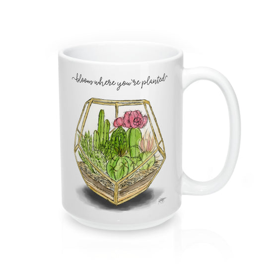 Bloom Where You're Planted Mug 15oz - The Watercolorie