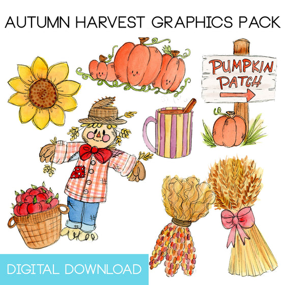 Autumn Harvest Graphics Pack Digital Download - The Watercolorie