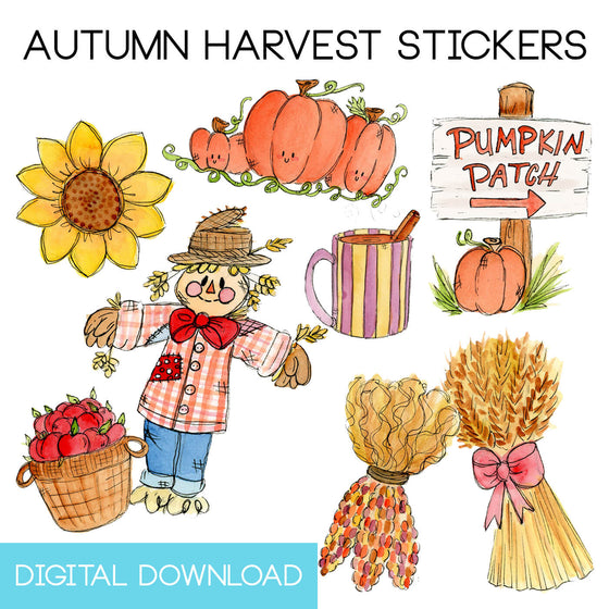 Autumn Harvest Sticker Page Digital Download - The Watercolorie