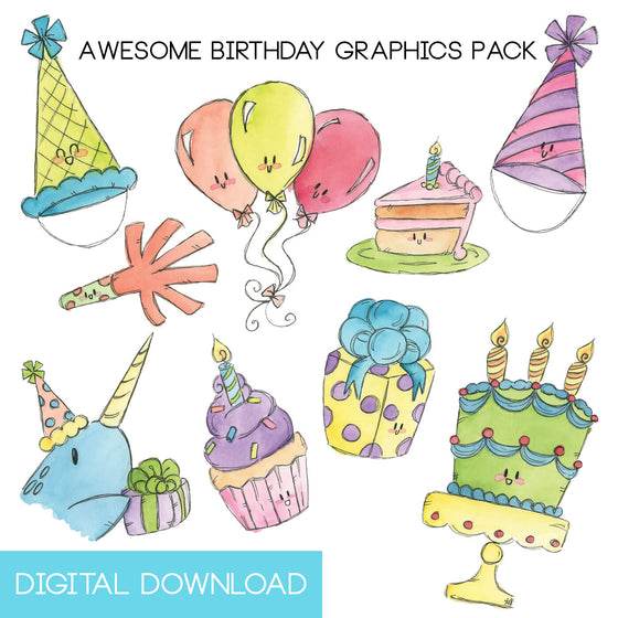 Awesome Birthday Graphics Pack Digital Download - The Watercolorie