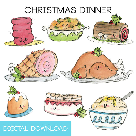 Christmas Dinner Sticker Page Digital Download - The Watercolorie