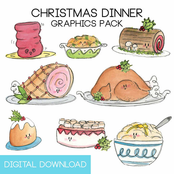 Christmas Dinner Graphics Pack Digital Download - The Watercolorie