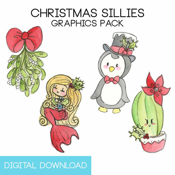 Christmas Sillies Graphics Pack Digital Download - The Watercolorie