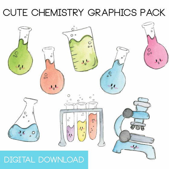 Cute Chemistry Graphics Pack Digital Download - The Watercolorie