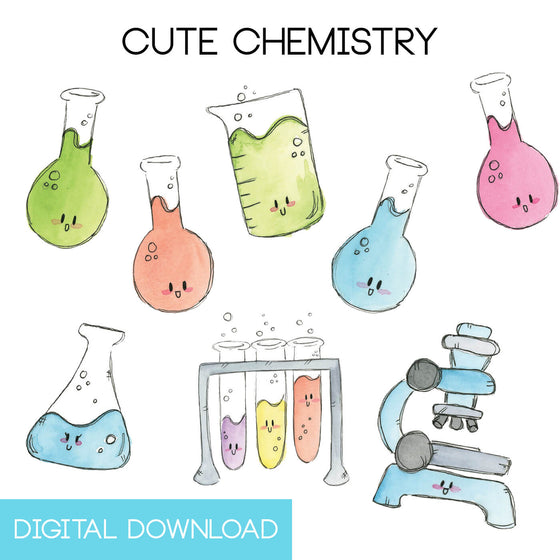 Cute Chemistry Sticker Page Digital Download - The Watercolorie
