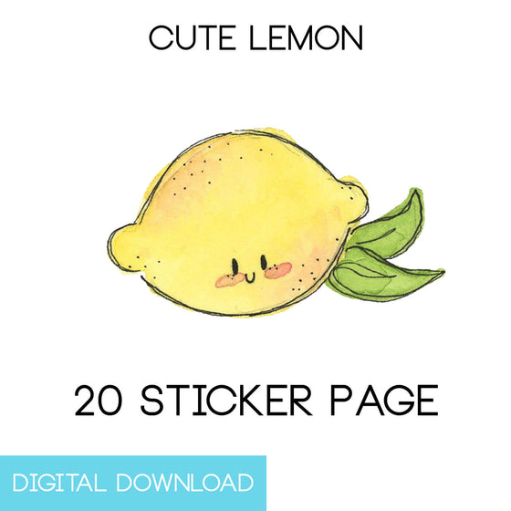 Cute Lemon Sticker Page Digital Download - The Watercolorie