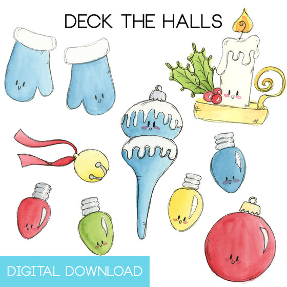 Deck the Halls Sticker Page Digital Download - The Watercolorie