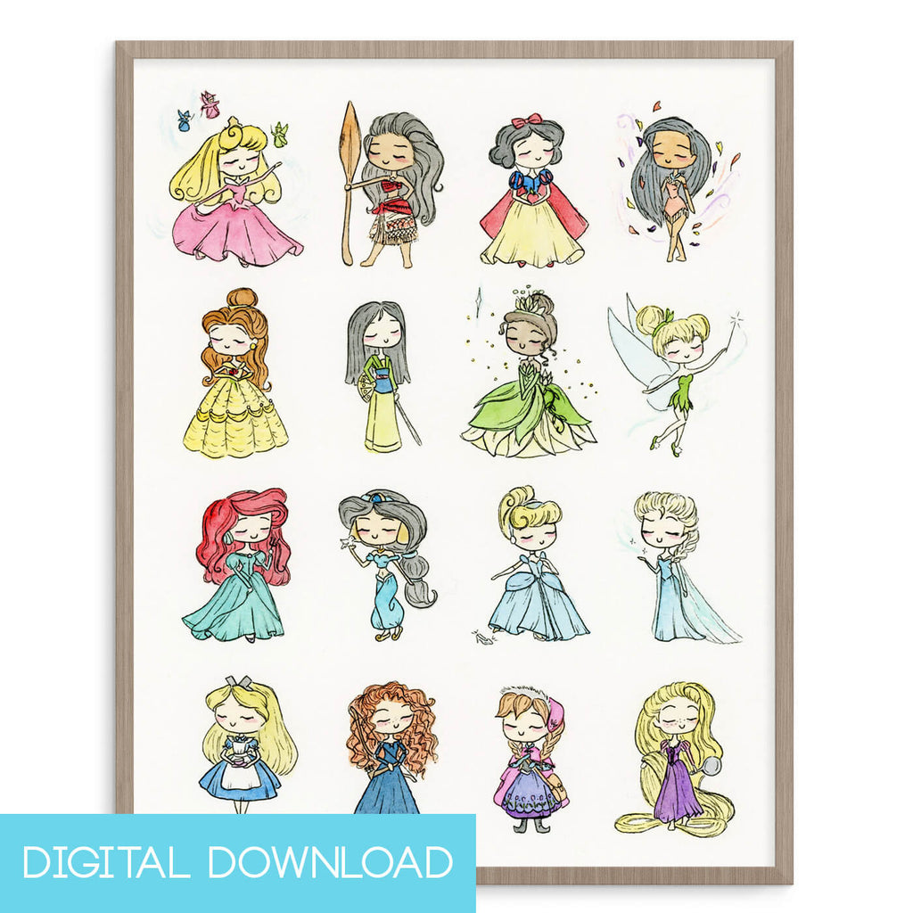 Disney Princesses 8x10 Digital Download - LIMITED EDITION - The Watercolorie