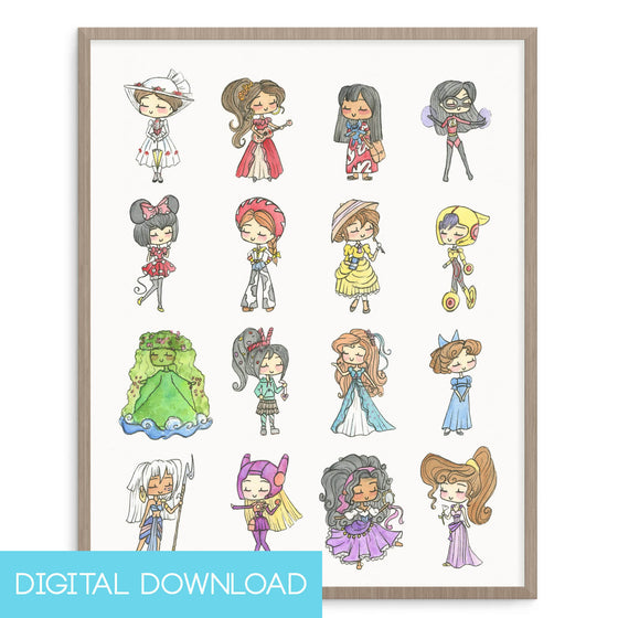 Disney Princesses Two 8x10 Digital Download - LIMITED EDITION - The Watercolorie