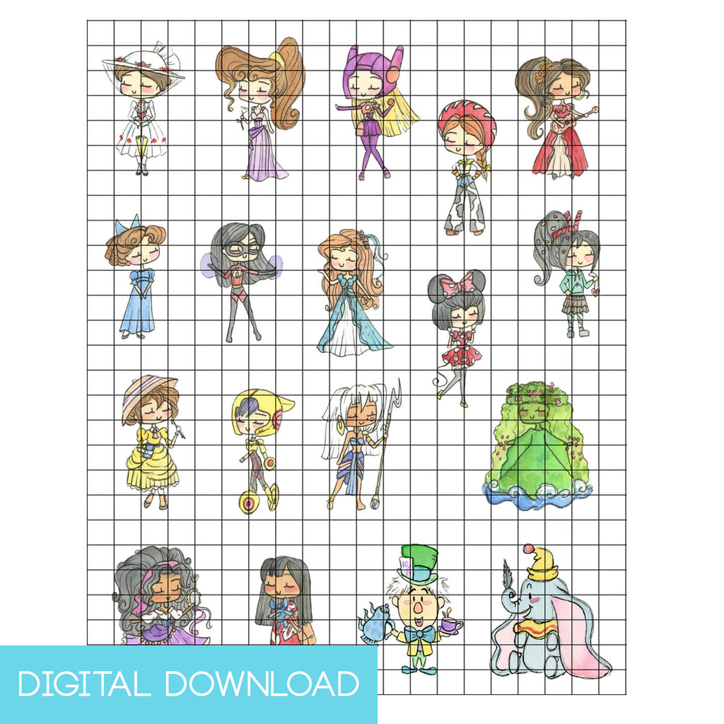 Disney Princesses 34 Sticker Set Digital Download - LIMITED EDITION - The Watercolorie